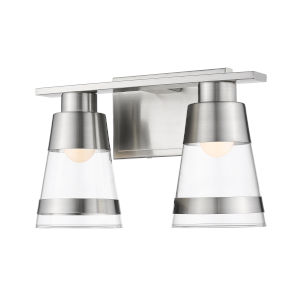 Ethos Brushed Nickel Two-Light LED Bath Vanity with Clear Glass