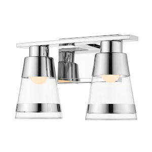 Ethos Chrome Two-Light LED Bath Vanity with Clear Glass