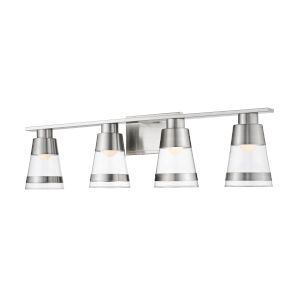 Ethos Brushed Nickel Four-Light LED Bath Vanity with Clear Glass