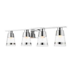 Ethos Chrome Four-Light LED Bath Vanity with Clear Glass