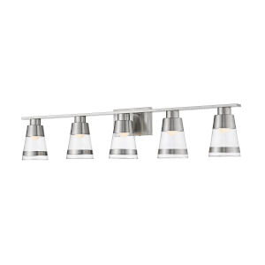 Ethos Brushed Nickel Five-Light LED Bath Vanity with Clear Glass
