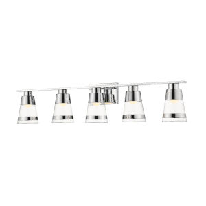 Ethos Chrome Five-Light LED Bath Vanity with Clear Glass