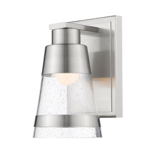 Ethos Brushed Nickel Five-Inch LED Bath Sconce with Clear Seedy Glass