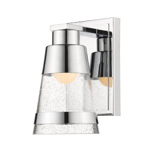 Ethos Chrome Five-Inch LED Bath Sconce with Clear Seedy Glass