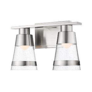 Ethos Brushed Nickel Two-Light LED Bath Vanity with Clear Seedy Glass