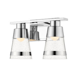 Ethos Chrome Two-Light LED Bath Vanity with Clear Seedy Glass