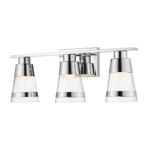 Ethos Chrome Three-Light LED Bath Vanity with Clear Seedy Glass