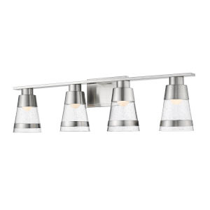 Ethos Brushed Nickel Four-Light LED Bath Vanity with Clear Seedy Glass