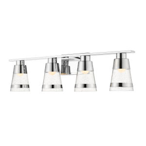 Ethos Chrome Four-Light LED Bath Vanity with Clear Seedy Glass