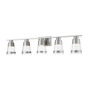 Ethos Brushed Nickel Five-Light LED Bath Vanity with Clear Seedy Glass