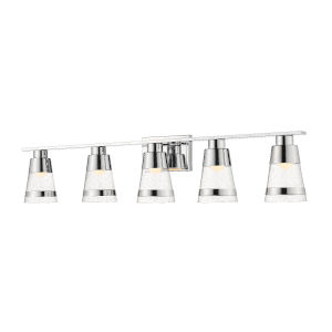 Ethos Chrome Five-Light LED Bath Vanity with Clear Seedy Glass