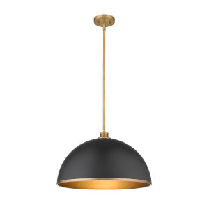 Citadel Matte Black and Classic Brass One-Light Pendant