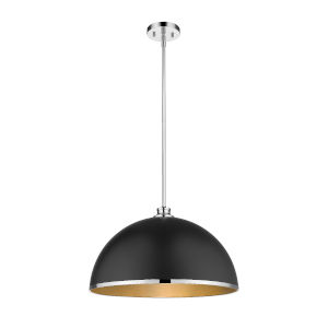 Citadel Matte Black and Chrome One-Light Pendant