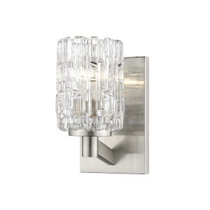 Aubrey Brushed Nickel One-Light Wall Sconce with Transparent Glass
