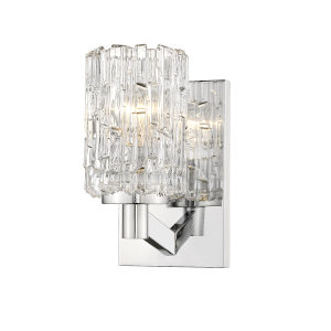 Aubrey Chrome One-Light Wall Sconce with Transparent Glass