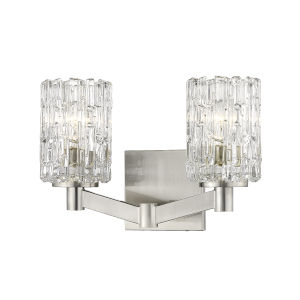 Aubrey Brushed Nickel Two-Light Bath Vanity with Transparent Glass