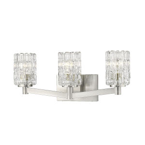 Aubrey Brushed Nickel Three-Light Vanity with Transparent Glass