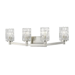 Aubrey Brushed Nickel Four-Light Vanity with Transparent Glass