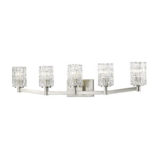 Aubrey Brushed Nickel Five-Light Vanity with Transparent Glass