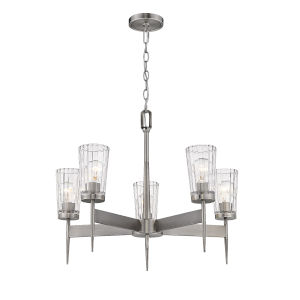 Flair Antique Nickel Five-Light Chandelier with Transparent Glass
