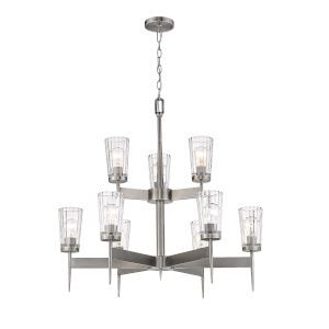Flair Antique Nickel Nine-Light Chandelier with Transparent Glass