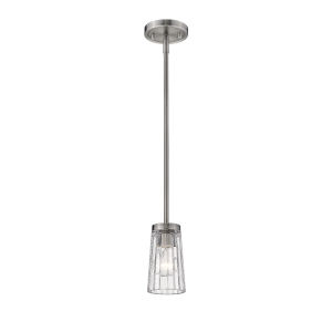 Flair Antique Nickel One-Light Mini Pendant with Transparent Glass