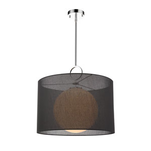 Arosia Chrome and Black 24-Inch One-Light Pendant
