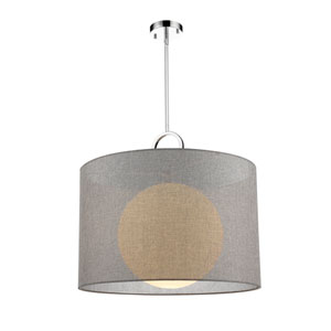 Arosia Chrome and Gray 24-Inch One-Light Pendant
