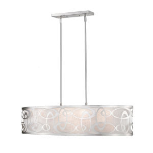Brushed Nickel Four-Light Pendant with Opal Glass