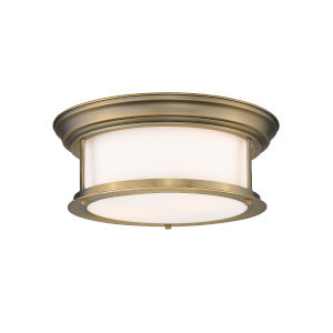 Sonna Heritage Brass Two-Light Flush Mount with Matte Opal Glass