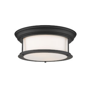 Sonna Matte Black Two-Light Flush Mount with Matte Opal Glass