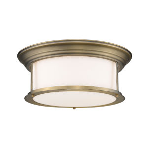 Sonna Heritage Brass Three-Light Flush Mount with Matte Opal Glass