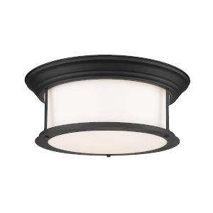 Sonna Matte Black Three-Light Flush Mount with Matte Opal Glass