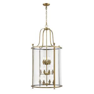 Wyndham Heirloom Brass 12-Light Chandelier With Transparent Glass