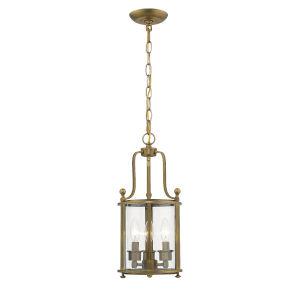 Wyndham Heirloom Brass Three-Light Mini Chandeliers With Transparent Glass