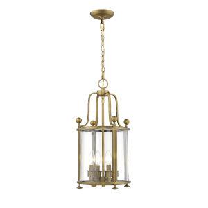 Wyndham Heirloom Brass Four-Light Chandelier With Transparent Glass
