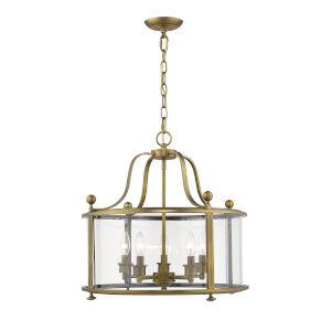 Wyndham Heirloom Brass Five-Light Chandelier With Transparent Glass