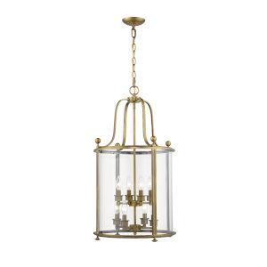 Wyndham Heirloom Brass Eight-Light Chandelier With Transparent Glass