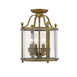 Wyndham Heirloom Brass Three-Light Semi Flush Mount With Transparent Glass