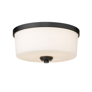 Arlington Matte Black Three-Light Flush Mount