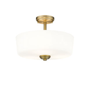 Arlington Heritage Brass Three-Light Semi Flush Mount