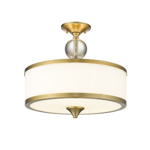Cosmopolitan Heritage Brass Three-Light Semi Flush Mount