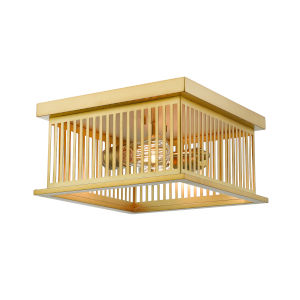 Camellia Brass Two-Light Square Flush Mount