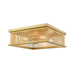 Camellia Brass Four-Light Square Flush Mount