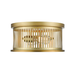 Camellia Brass Two-Light Round Flush Mount