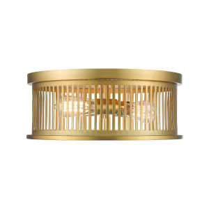 Camellia Brass Three-Light Round Flush Mount