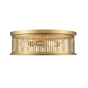Camellia Brass Four-Light Round Flush Mount