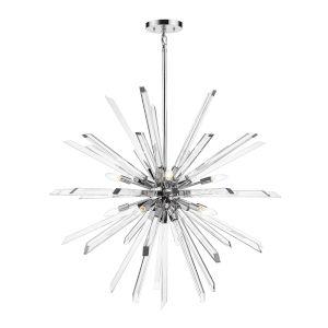Burst Chrome 10-Lihgt Chandelier With Transparent Crystal