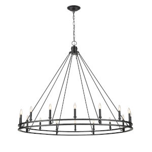 Dennison Matte Black 16-Light Chandelier
