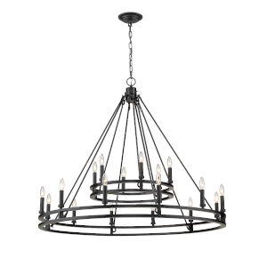 Dennison Matte Black 18-Light Chandelier